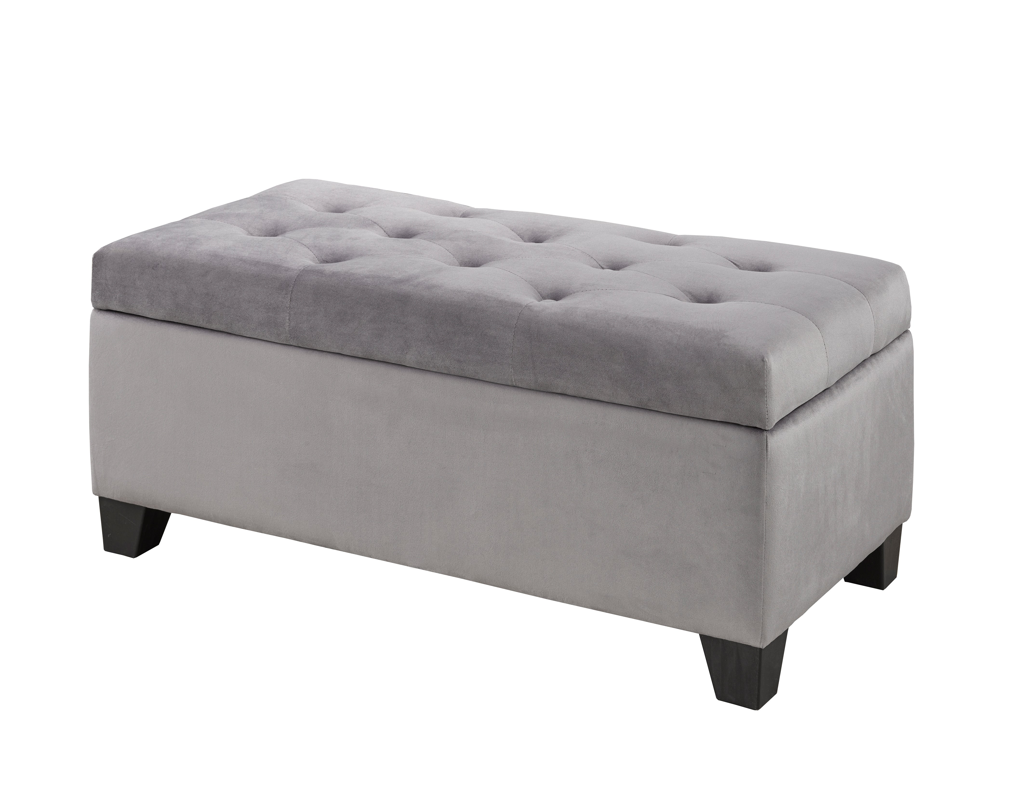 Ellis Storage Bench - Grey Velvet | Candace and Basil Furniture