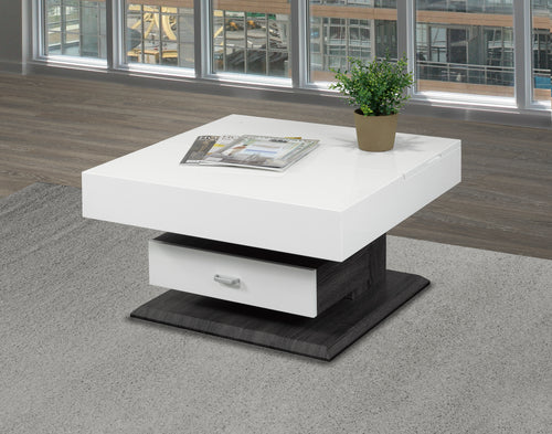 Rotating Lift-Up Coffee Table w/ Storage - Glossy White | Candace and Basil Furniture