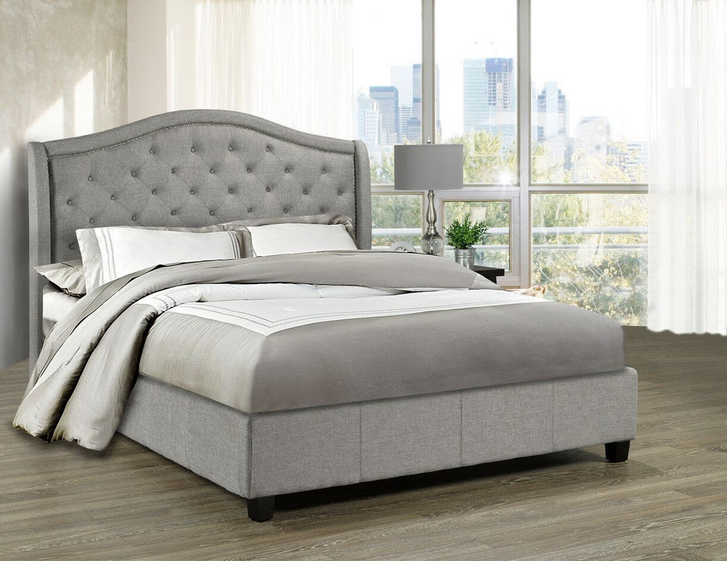 Venice Platform Queen Bed - Grey Linen | Candace and Basil Furniture