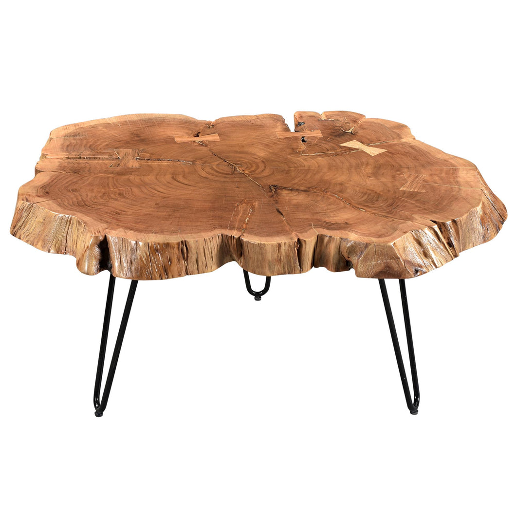 Nila Coffee Table - Natural Solid Wood/Iron