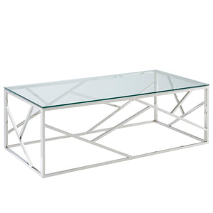 Juniper Coffee Table - Silver Stainless Steel/Glass