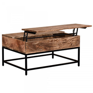 Orion Lift-Top Coffee Table - Natural Burnt