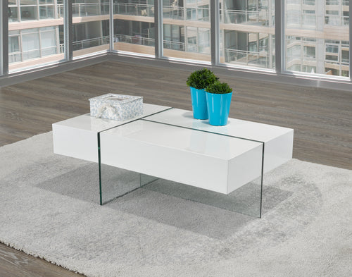 Coffee Table w/ Storage - White Glossy | Candace and Basil Furniture