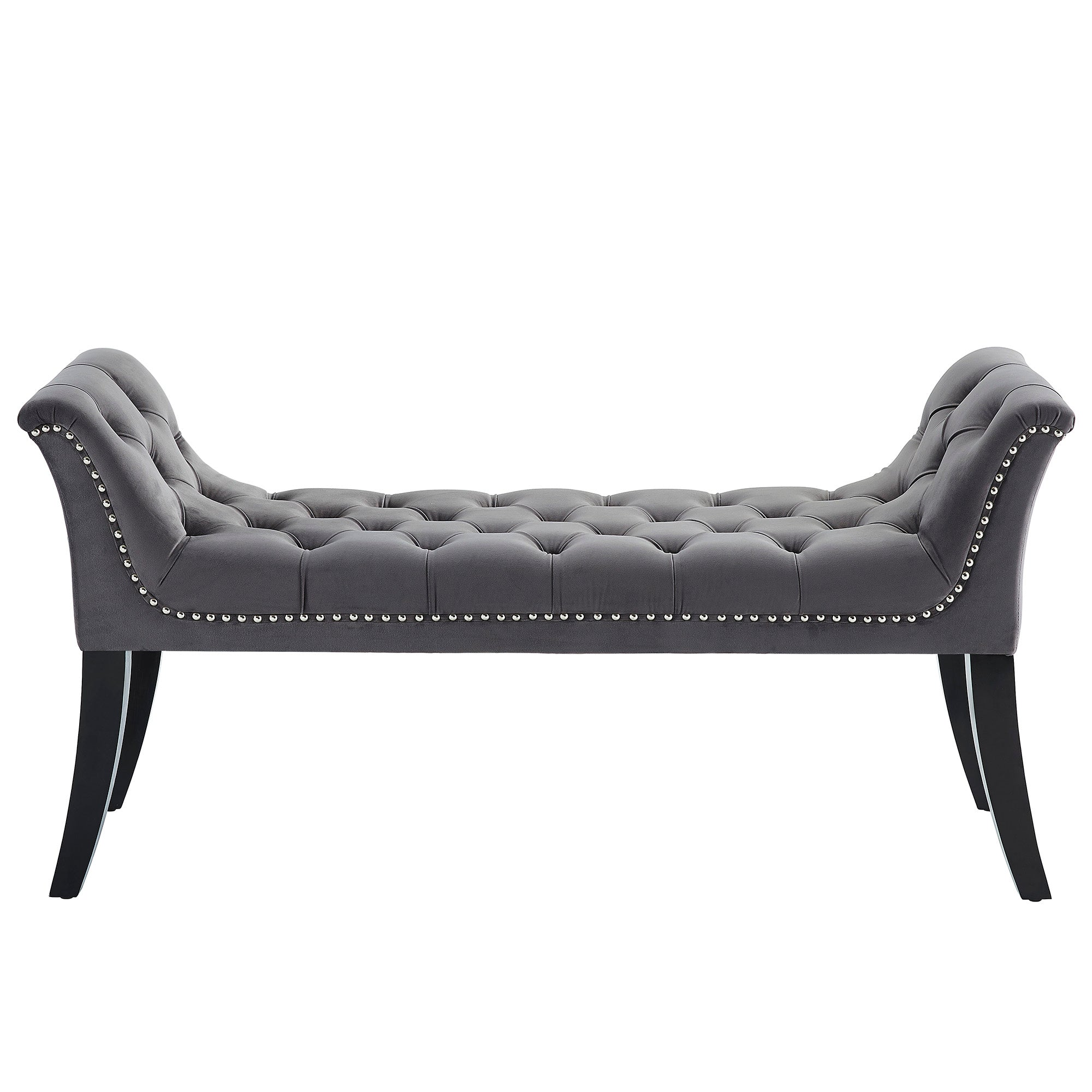 Velci Bench - Grey Velvet/Wood