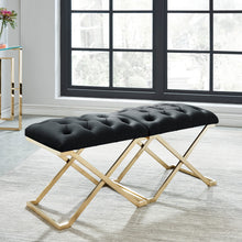 Load image into Gallery viewer, Rada Single Bench - Black/Gold Velvet/Stainless Steel