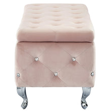 Load image into Gallery viewer, Monique Storage Ottoman - Blush Velvet/Metal