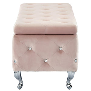 Monique Storage Ottoman - Blush Velvet/Metal