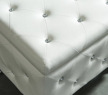 Load image into Gallery viewer, Monique Single Storage Ottoman - White Faux Leather/Metal