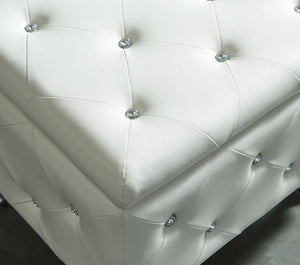 Monique Single Storage Ottoman - White Faux Leather/Metal