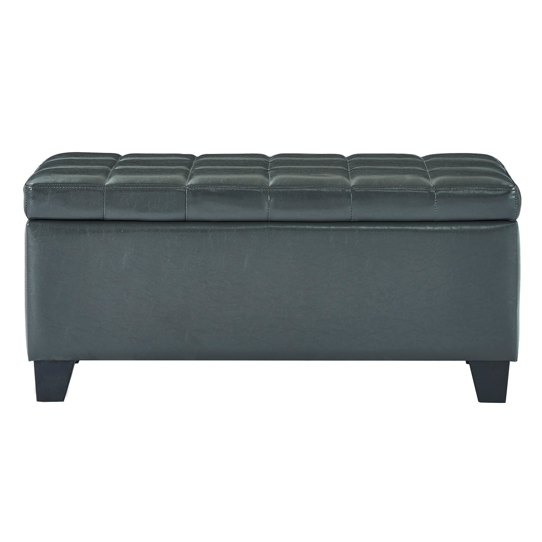 Winston Storage Ottoman - Grey Faux Leather