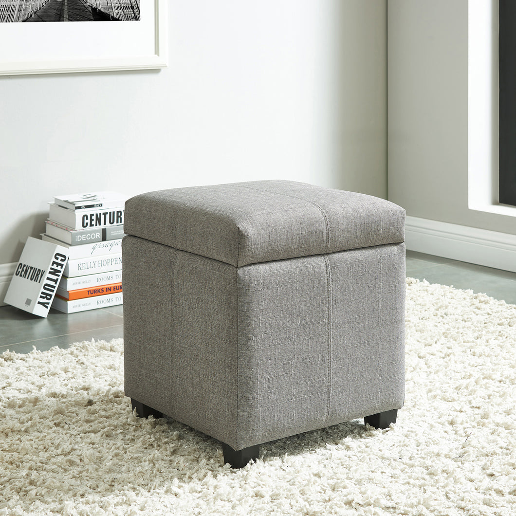 Juno Storage Ottoman - Grey Fabric
