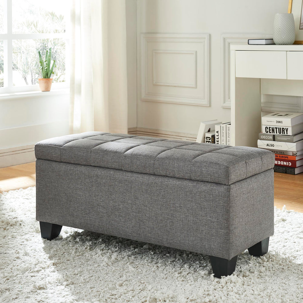 Lila Storage Ottoman - Grey Fabric