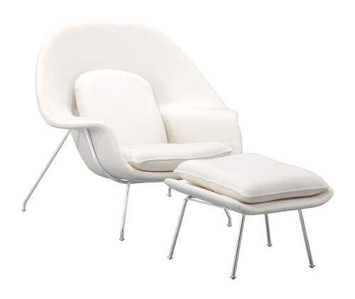Chair And Ottoman White