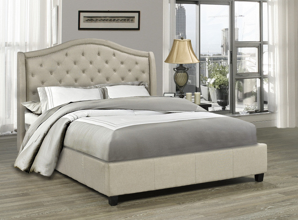 Venice Platform King Bed - Beige Linen | Candace and Basil Furniture