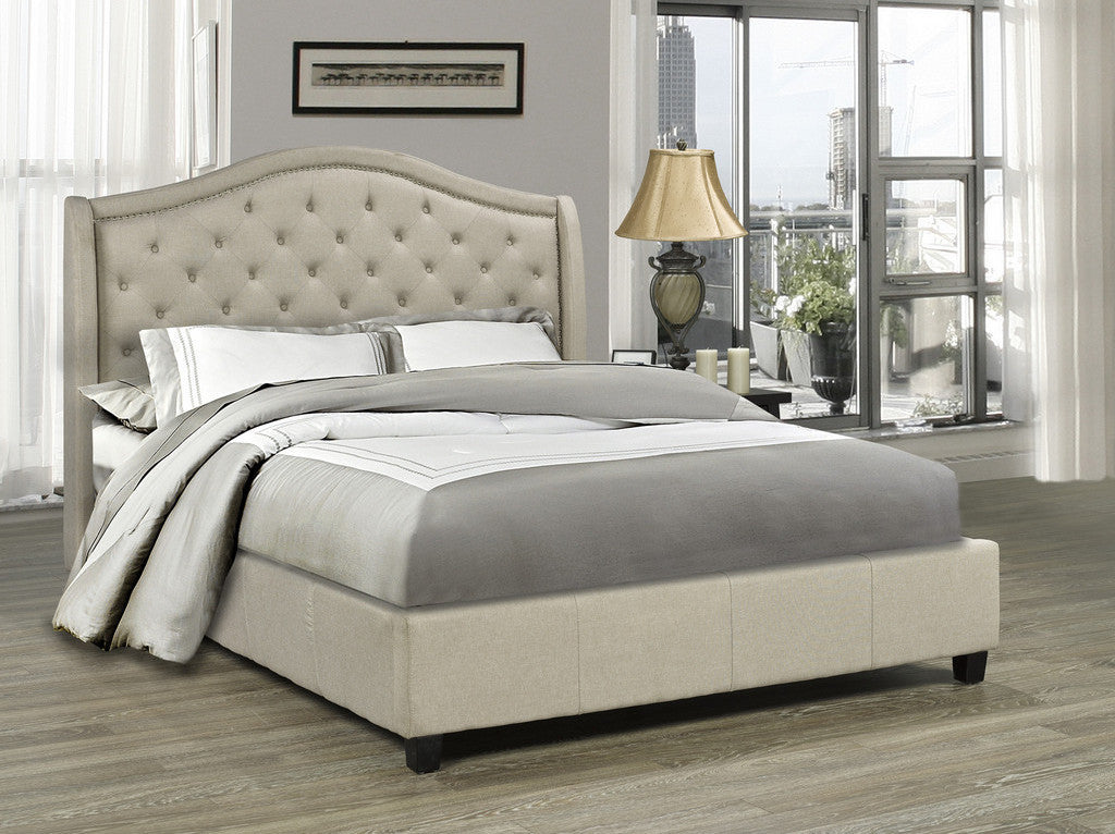 Venice Platform Queen Bed - Beige Linen | Candace and Basil Furniture