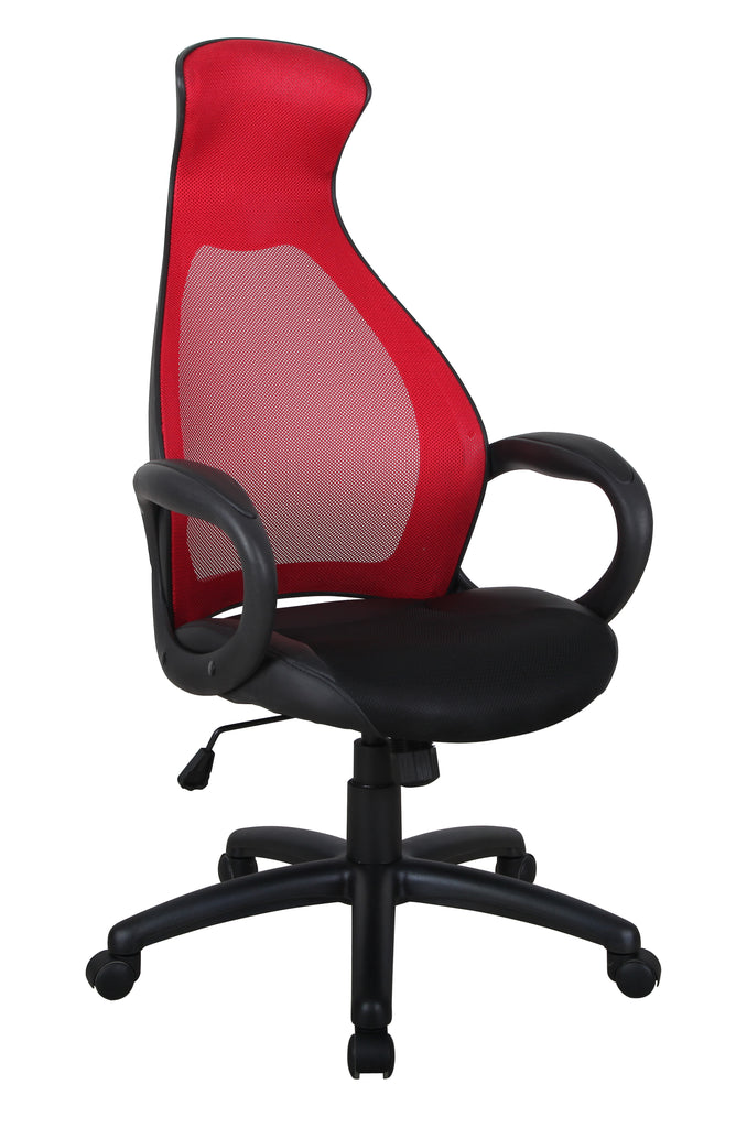 Adjustable Mesh-Back Office Chair with Gas Lift - Red | Candace and Basil Furniture