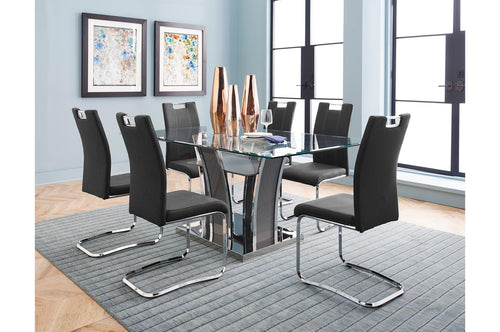 Belize Dining Table - Grey/Chrome