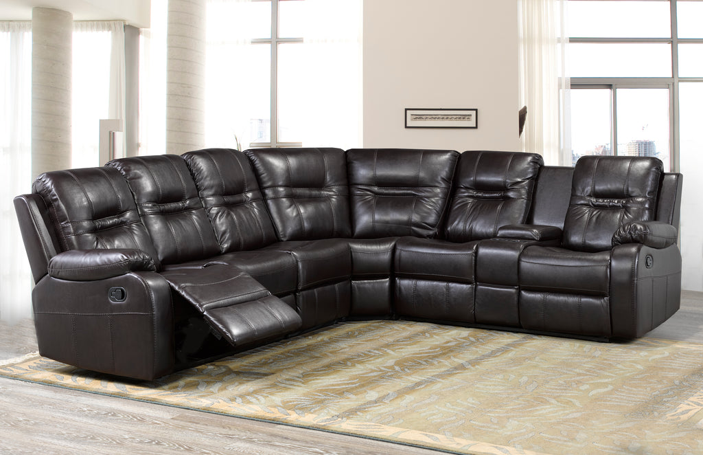 Napolean Sectional - Brown Leatherette | Candace and Basil Furniture