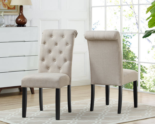 Tinga Dining Chairs (Set of 2) - Beige Linen | Candace and Basil Furniture