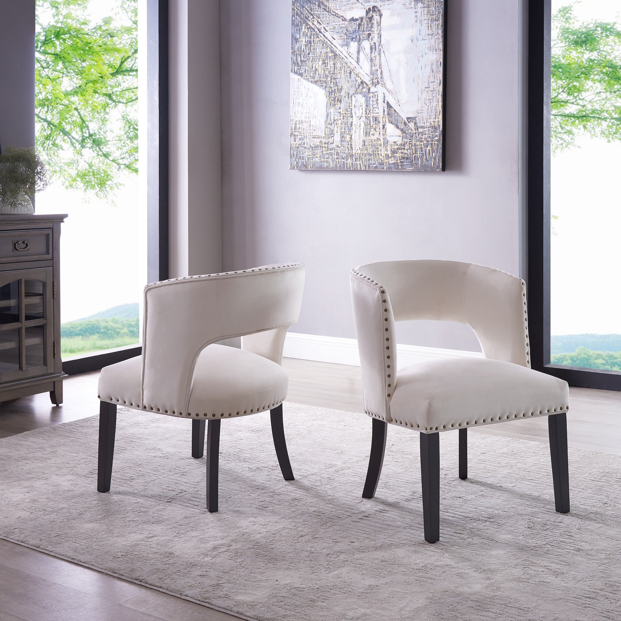 Jasmine Accent Chair (Set of 2) - Cream Velvet