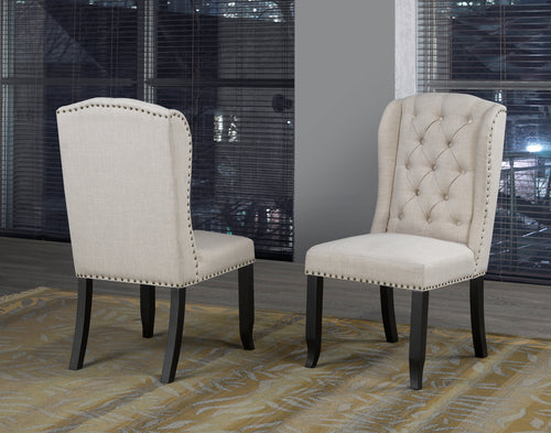 Tinga Captain Dining Chair (Set of 2) - Beige Linen | Candace and Basil Furniture