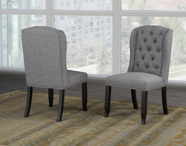 Tinga Captain Dining Chair (Set of 2) - Grey Linen | Candace and Basil Furniture