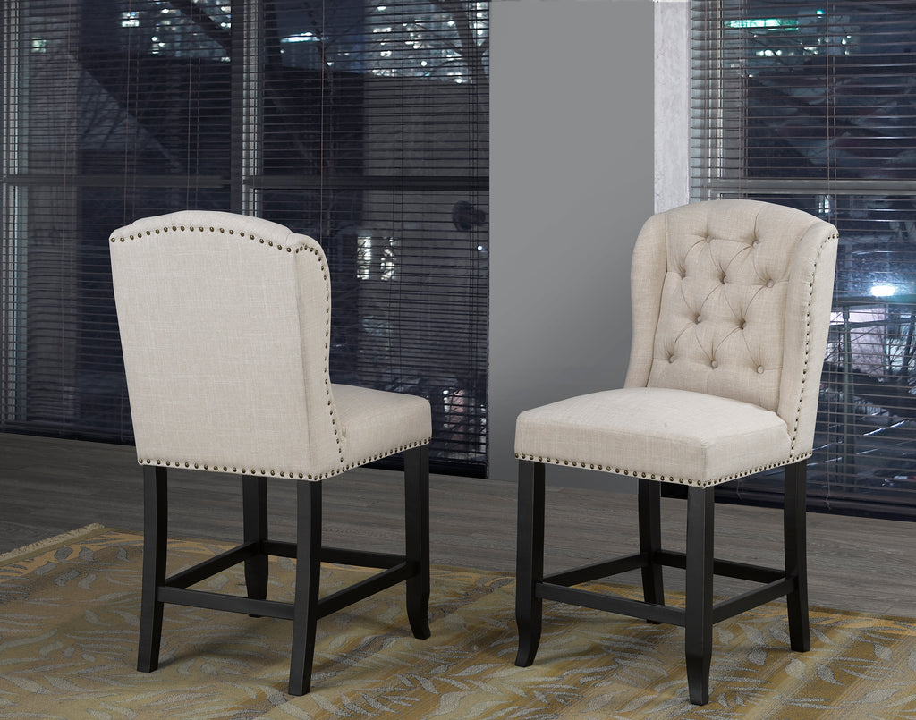 Tinga Captain Counter Chair (Set of 2) - Beige Linen | Candace and Basil Furniture