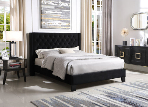 Zander Platform Queen Bed - Black Velvet | Candace and Basil Furniture