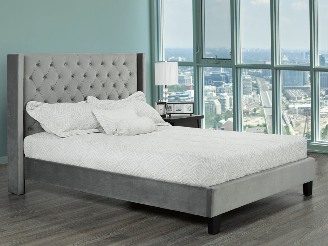 Zander Platform Queen Bed - Grey Velvet | Candace and Basil Furniture
