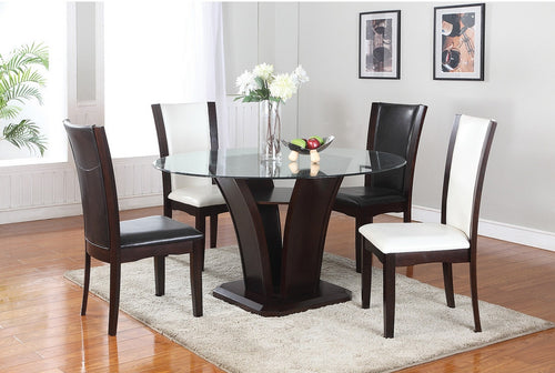 Ambrose 5PC Dining Set - Espresso (White or Black Chairs) | Candace and Basil Furniture