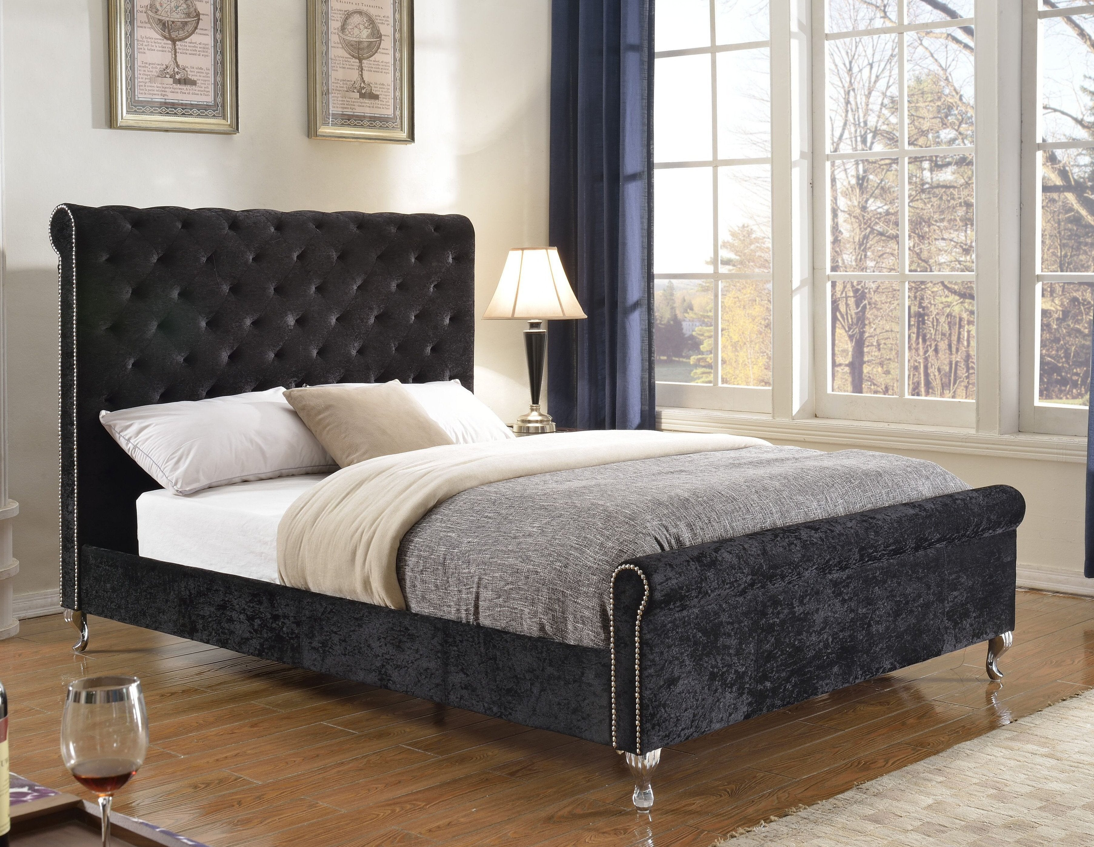 Manila Platform Queen Bed - Black Velvet | Candace and Basil Furniture