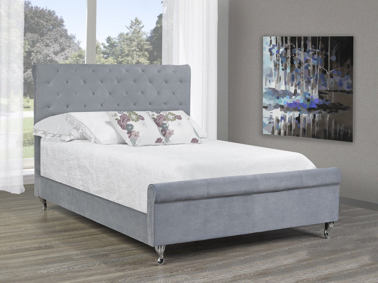 queen fiona and platform sabrina overstuffed contemporary tufted frame modern headboard steel baxton base linen bed stainless studio button with