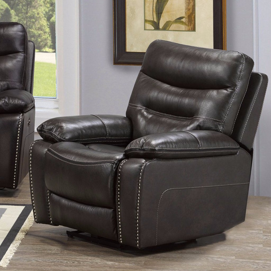Allison Power Recliner - Grey Genuine Leather | Candace and Basil Furniture