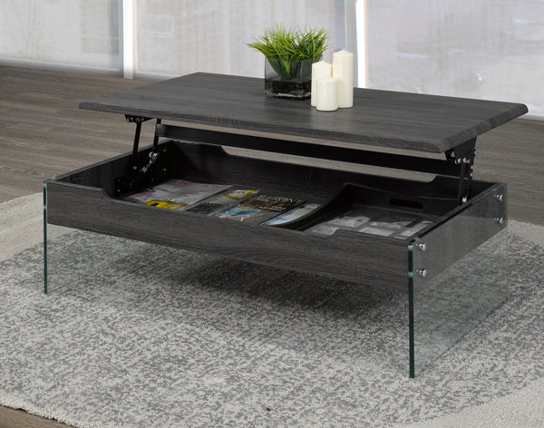 Lift Top Storage Coffee Table - Dark Grey/Tempered Glass | Candace and Basil Furniture