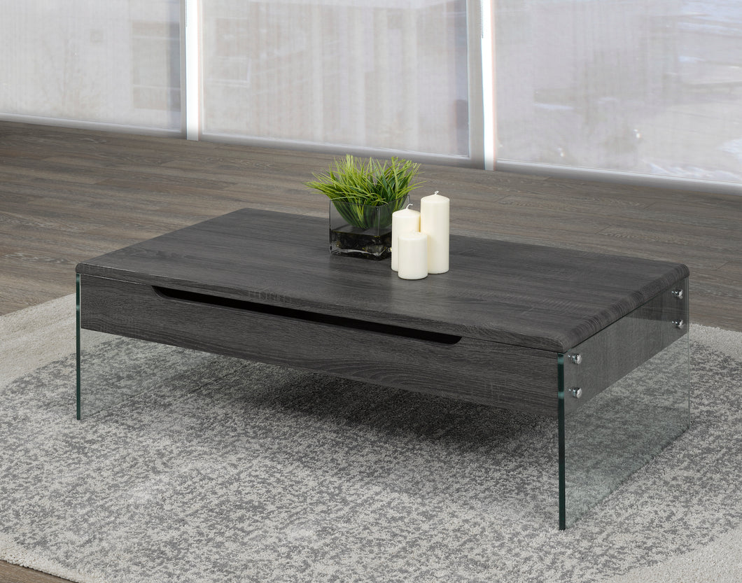 Lift Top Storage Coffee Table - Dark Grey/Tempered Glass