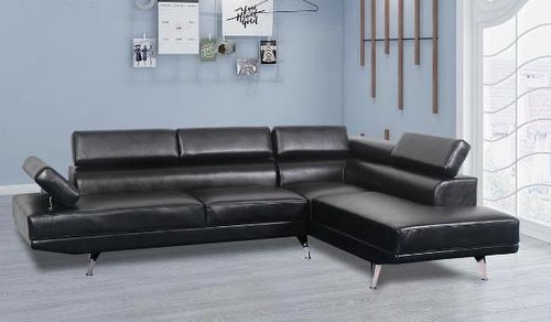 Aria RHF Sectional - Black Leatherette