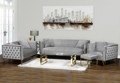Aura Sofa Series - Grey/Gold Metal
