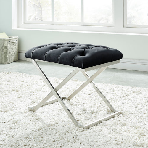 Aldo Single Bench - Black/Silver Velvet/Stainless Steel