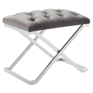 Aldo Single Bench - Grey/Silver Velvet/Stainless Steel