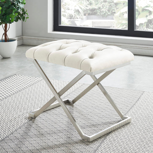 Aldo Single Bench - Ivory/Silver Velvet/Stainless Steel