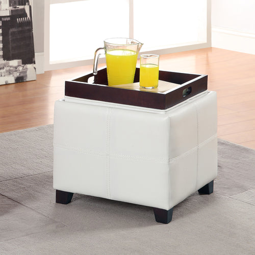 Anton Ii Storage Ottoman - White Faux Leather