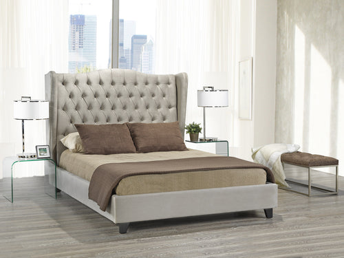 Alexandra King Platform Bed - Beige Velvet | Candace and Basil Furniture