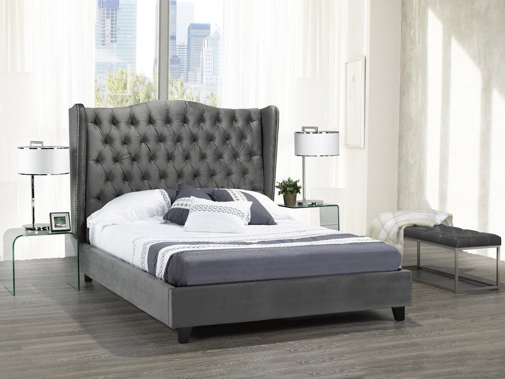Alexandra Queen Platform Bed - Grey Velvet | Candace and Basil Furniture