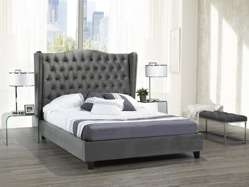 Alexandra King Platform Bed - Grey Velvet | Candace and Basil Furniture