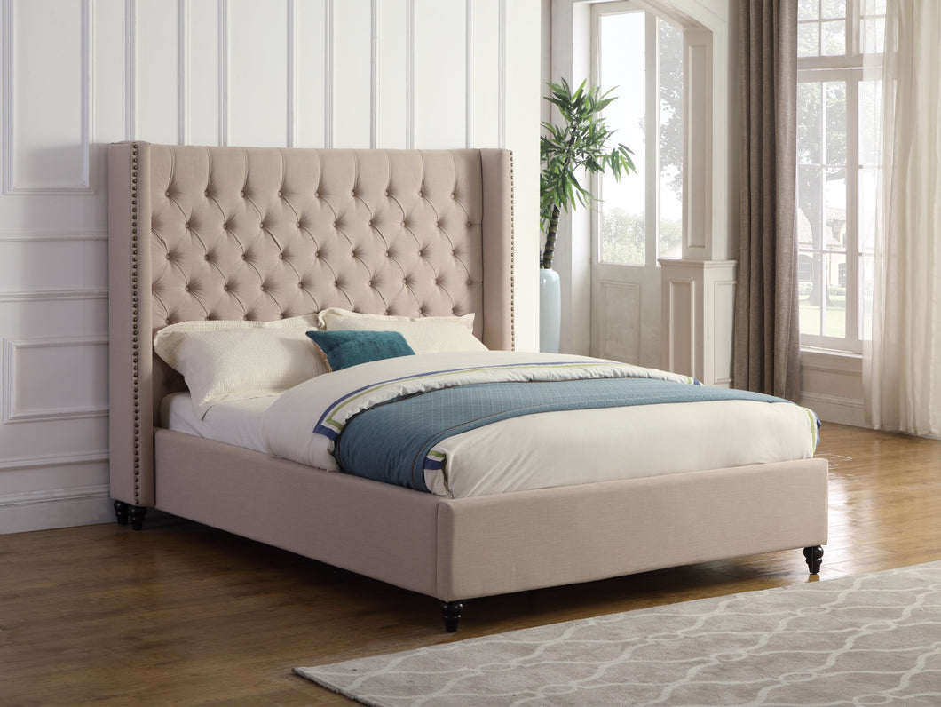 Marcella Queen Platform Bed - Beige Linen | Candace and Basil Furniture