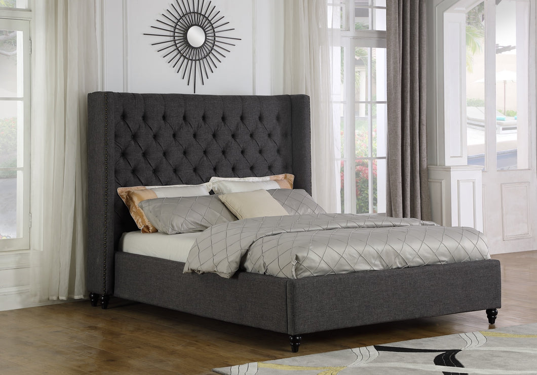 Marcella King Platform Bed - Grey Linen | Candace and Basil Furniture