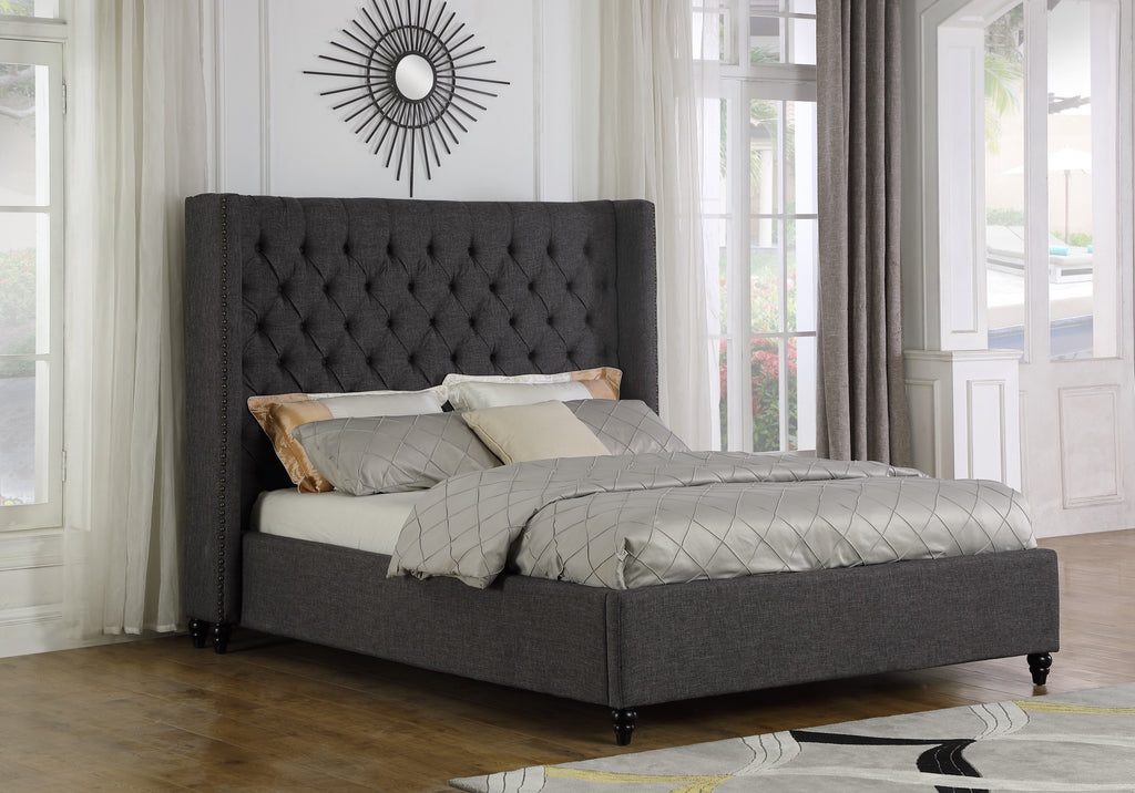 Marcella Queen Platform Bed - Grey Linen | Candace and Basil Furniture