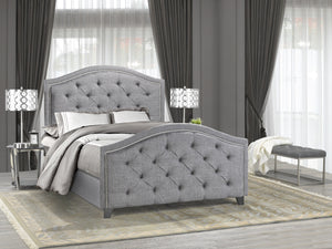 Royal King Platform Bed - Grey Linen | Candace and Basil Furniture
