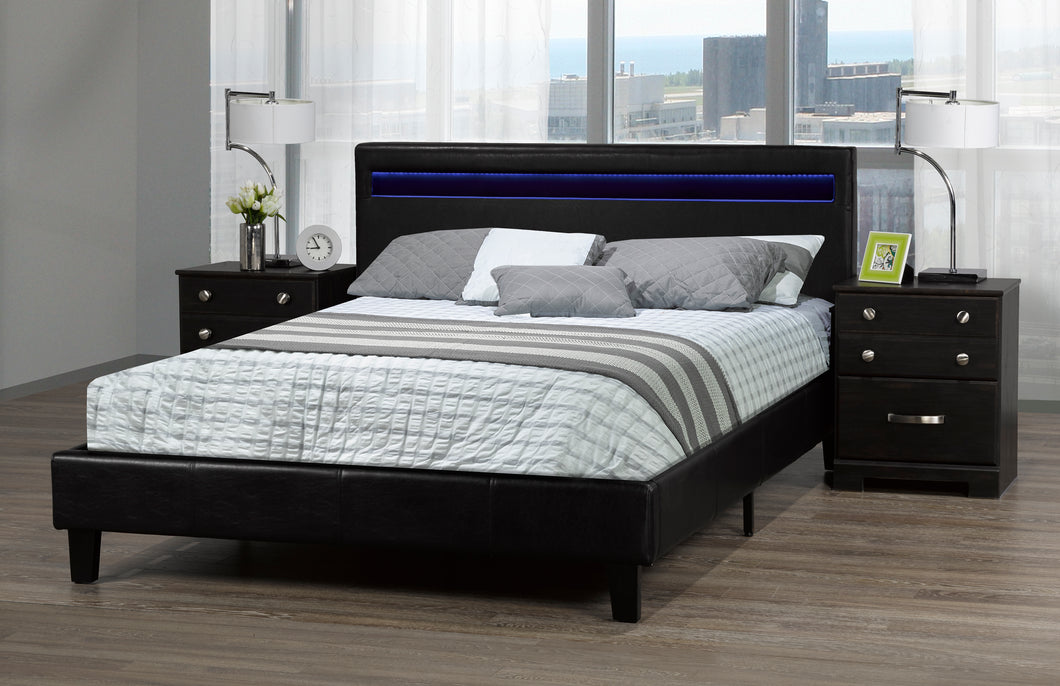 Oliver Double Platform Bed w/ LED - Black | Candace and Basil Furniture