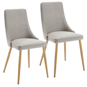 Carmilla Side Chair - Grey Velvet/Metal (Set of 2)